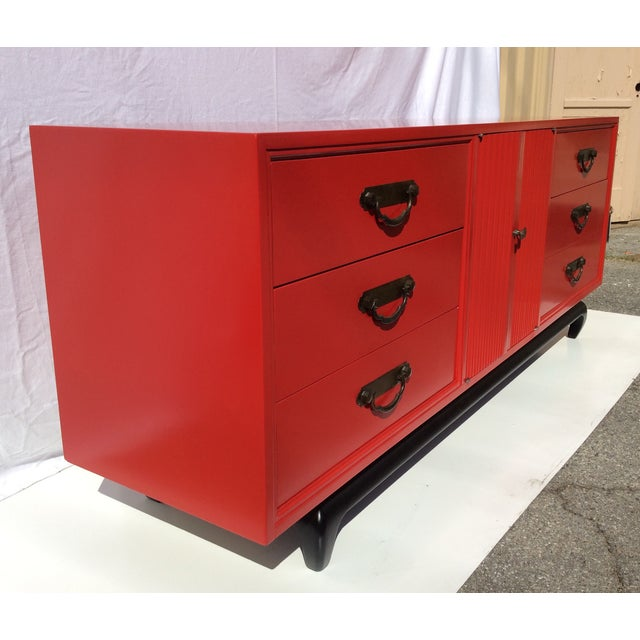 American of Martinsville Vintage Asian Red Dresser - Image 3 of 11