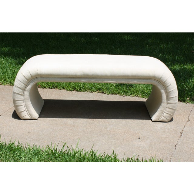 Milo Baughman Style Waterfall Upholstered Bench - Image 2 of 9