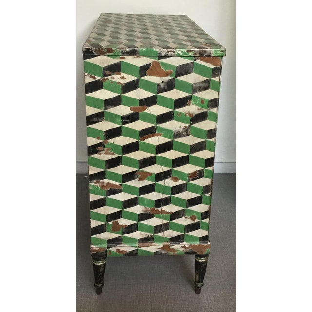 Geometric Hand Painted Antique Chest of Drawers - Image 5 of 10