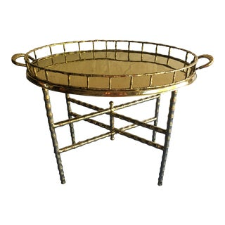 Vintage Brass Faux Bamboo Tray Table