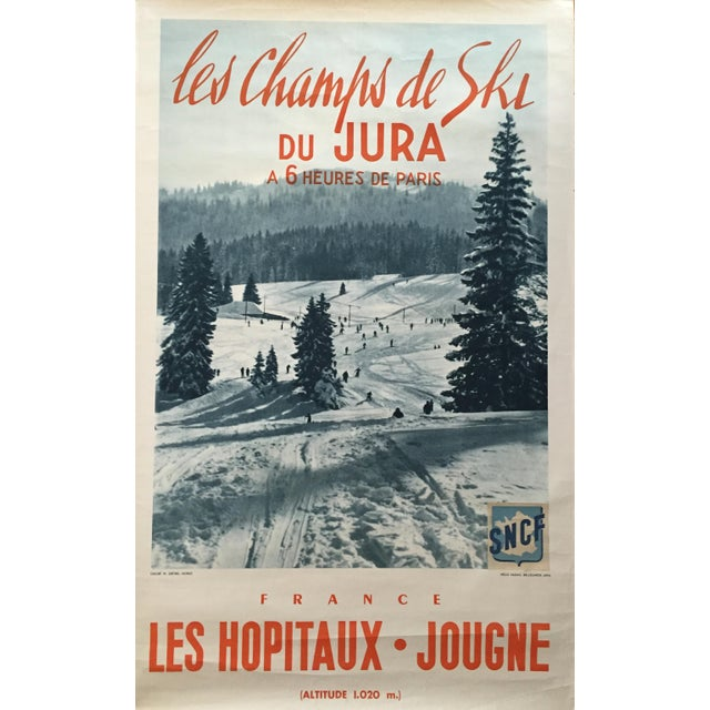 Vintage 1955 French Alps Original Ski Poster - Image 1 of 4