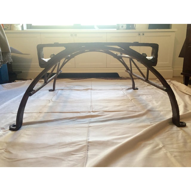 Repurposed Iron Barrel Holder Glass Top Table - Image 7 of 7