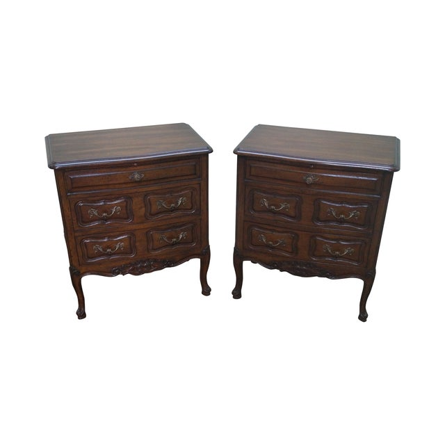 Custom Made Walnut French Louis XV Nighttands - Image 1 of 10