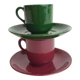 Burgundy & Green Porcelain Tea Cups & Saucers - A Pair