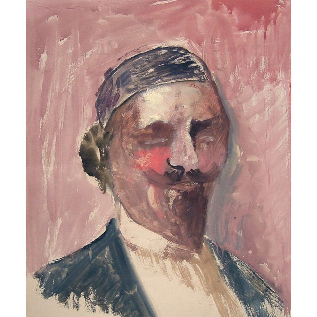 Watercolor & Gouache Portrait Painting - Image 2 of 3