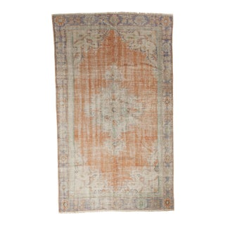 "Vintage Distressed Oushak Carpet - 5'2"" x 8'8"""