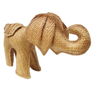 Natural Fiber Straw Wicker Elephant Figurine