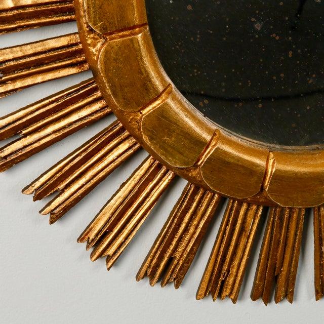 Mid-Century Medium Size Giltwood Sunburst Mirror - Image 6 of 7