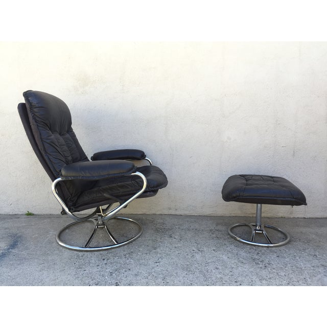 Mid-Century Italian Leather Chair and Ottoman - Image 3 of 11