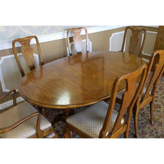 Baker Furniture Banded Oak Queen Anne Dining Set 1980s