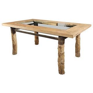 Burlwood Glasstop Dining Table