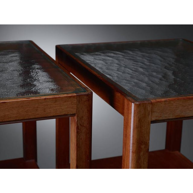Thorald Madsen Pair of Mahogany Side Tables with Glass Top, Denmark, 1930s - Image 4 of 6