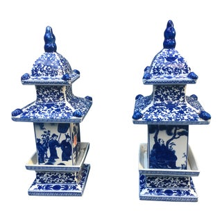 Blue & White Chinese Pagoda Ginger Jars - A Pair
