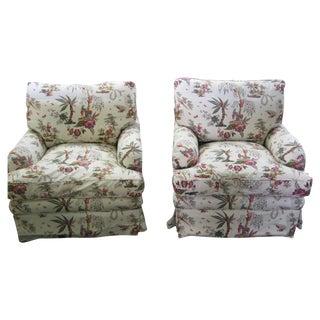 Vintage Toile Club Chairs - Pair
