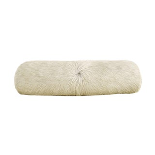 Ivory Cowhide Bolster Pillow