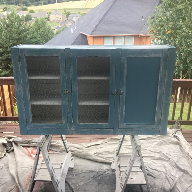Antique Blue Wash Barn Cabinet - Image 2 of 5