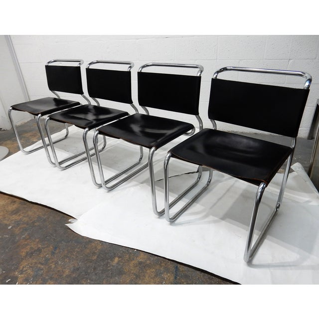 Nico Zograph Chrome Leather Sling Chairs - S/4 - Image 2 of 10