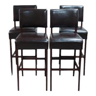 Palacek Brown Leather Bar Stools - Set of 4