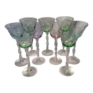 9 Vintage Hand Blown Colored Rope Twist Romanian Wine Goblets