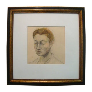 1930s Framed Sketch Drawing of a Woman