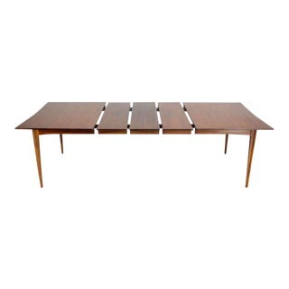 Danish Mid-Century Modern Walnut Dining Room Table with Rosewood Inserts