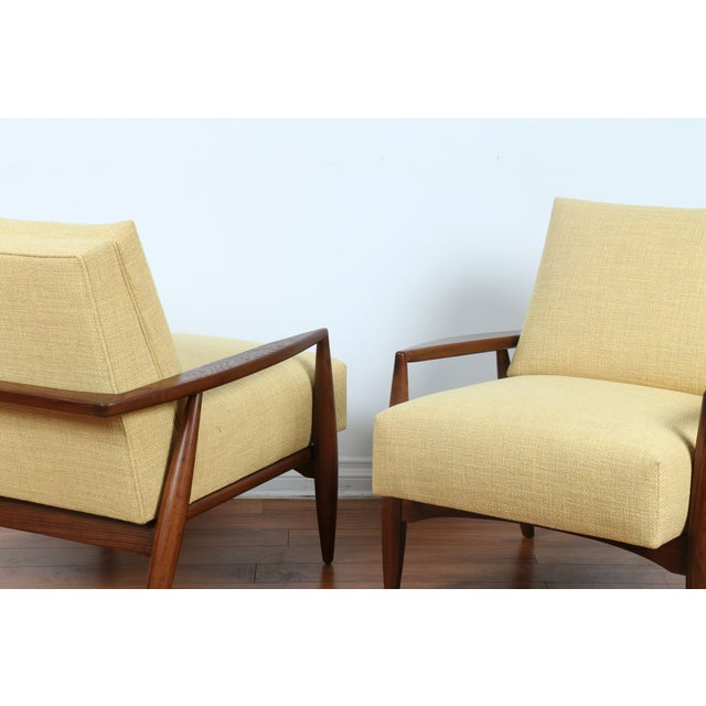 Mid-Century Ecru Lounge Chairs - A Pair - Image 4 of 11