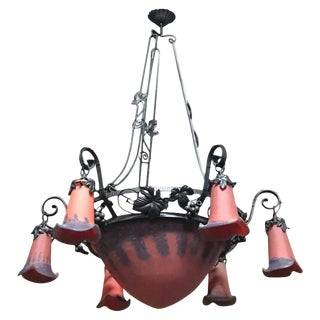 French Art Deco Red and Blue Chandelier