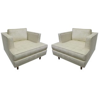 Harvey Probber Style Tufted Club Chairs - A Pair