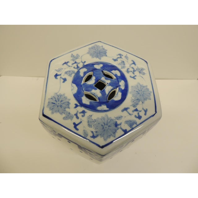 Vintage Blue and White Floral Mini-Garden Stool - Image 5 of 7