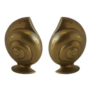 Vintage Brass Shell Bookends - Pair