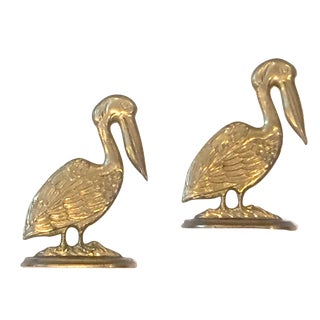 Brass Pelican Bookends - A Pair