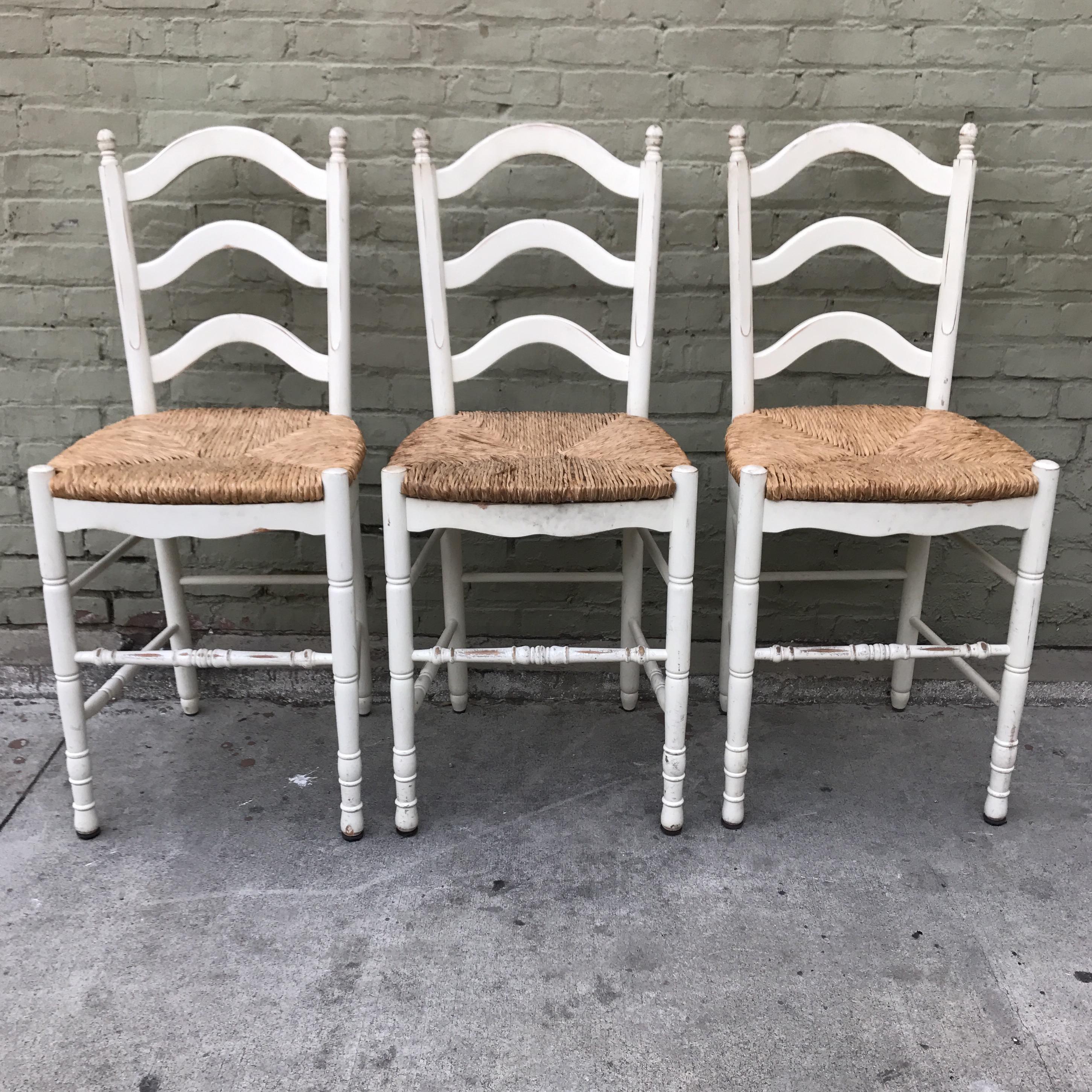 Painted Barstools With Rush Seats Set Of 3 Chairish