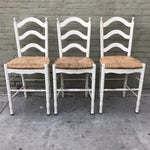 Image of Painted Barstools with Rush Seats - Set of 3