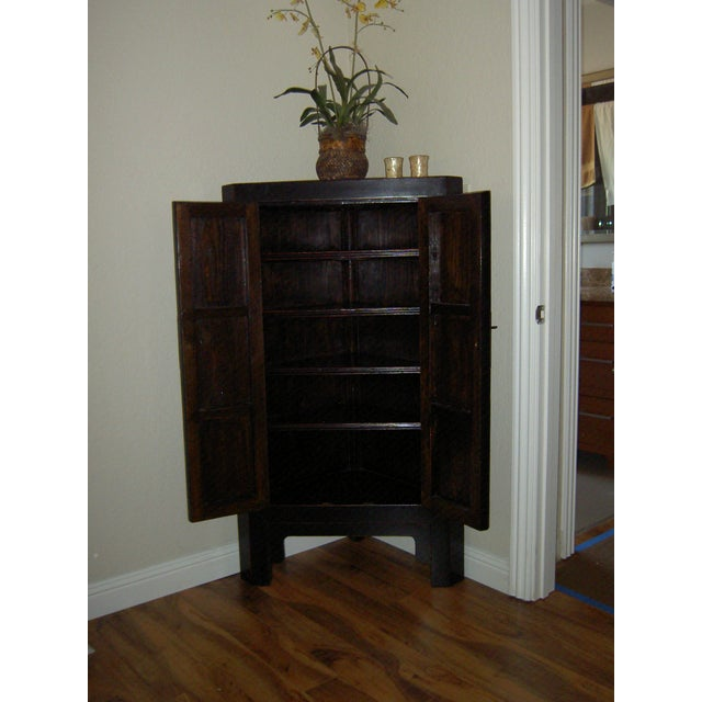 Image of Black Lacquer Asian Corner Cabinet Side Table