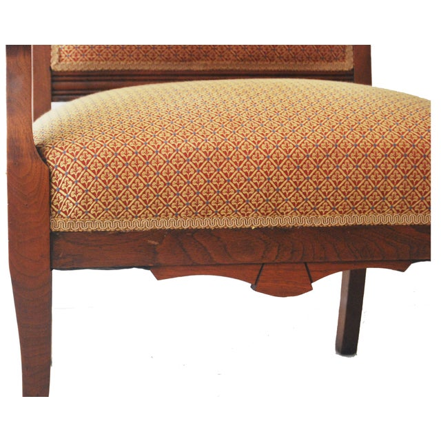 American Walnut & Upholstered Armchair - Image 3 of 10