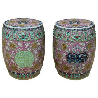 19th Century Pair of Famille Rose Garden Stools