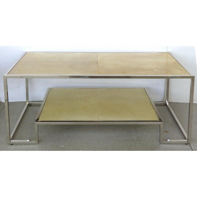 Chrome & Parchment Cocktail Table - Image 2 of 9