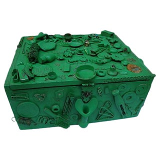 Green Cigar Memory Box With Trinkets