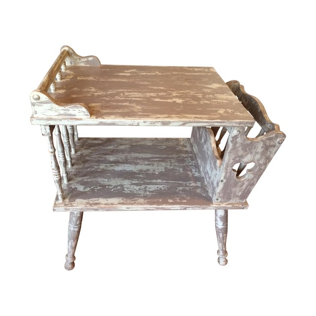 Distressed Gray Magazine Side Table - Image 1 of 5