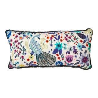 Anthropologie Floral Peacock Throw Pillow