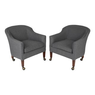 PAIR OF DUNBAR-STYLE BARREL CHAIRS ON CASTERS, CIRCA 1960S