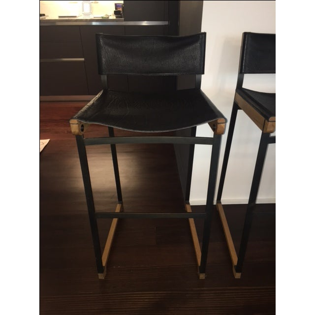 Token Black Leather Bar Stools - Set of 5 - Image 4 of 10