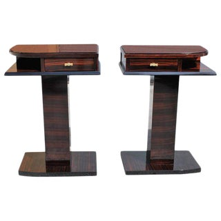 French Art Deco Macassar Ebony Side Tables / night stand - A Pair