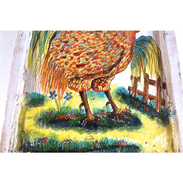 Image of Terracotta Painted Rooster Tile
