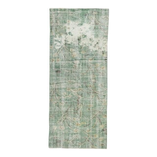 Distressed Green Turkish Deco Rug - 3′9″ × 8′11″