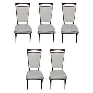 French Art Deco Walnut Dining Chairs - Set of 5