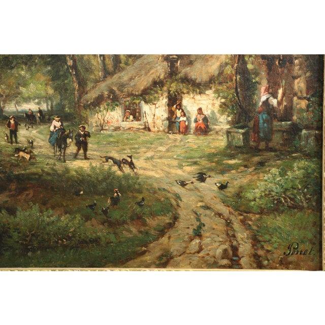 Image of Vintage French Barbizon School Landscape Painting of Village