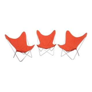 Set of Three Outdoor Early Jorge Ferrari-Hardoy Iron Butterfly Chairs for Knoll