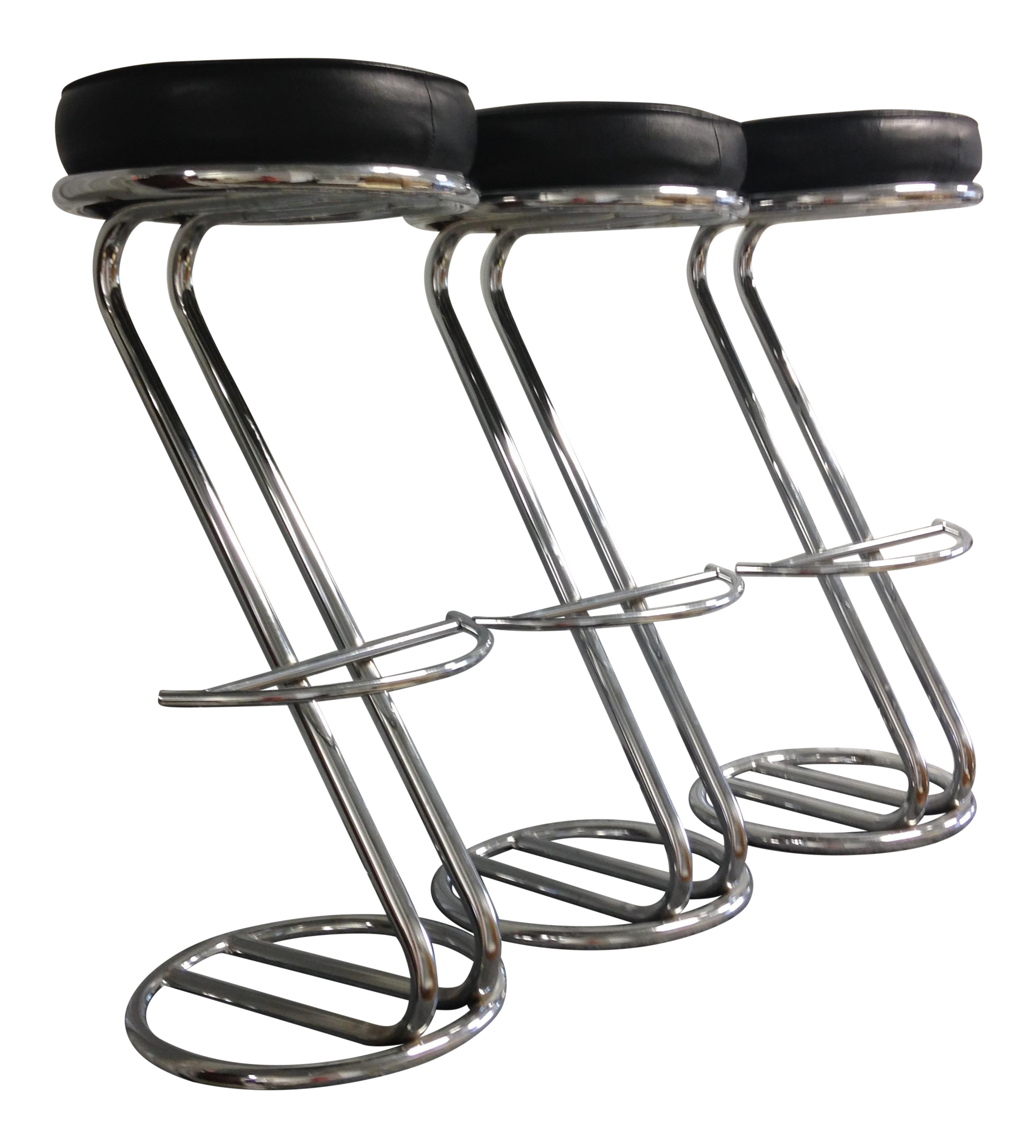 Vintage Art Deco Chrome u0026 Leather Bar Stools - Set of 3  sc 1 st  Chairish & Vintage Art Deco Chrome u0026 Leather Bar Stools - Set of 3 | Chairish islam-shia.org
