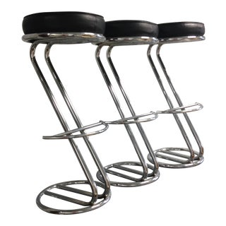 Vintage Art Deco Chrome & Leather Bar Stools - Set of 3